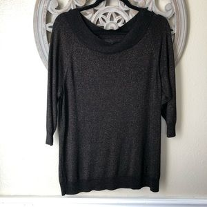 Lane Bryant black and copper  3/4 sleeve sweater